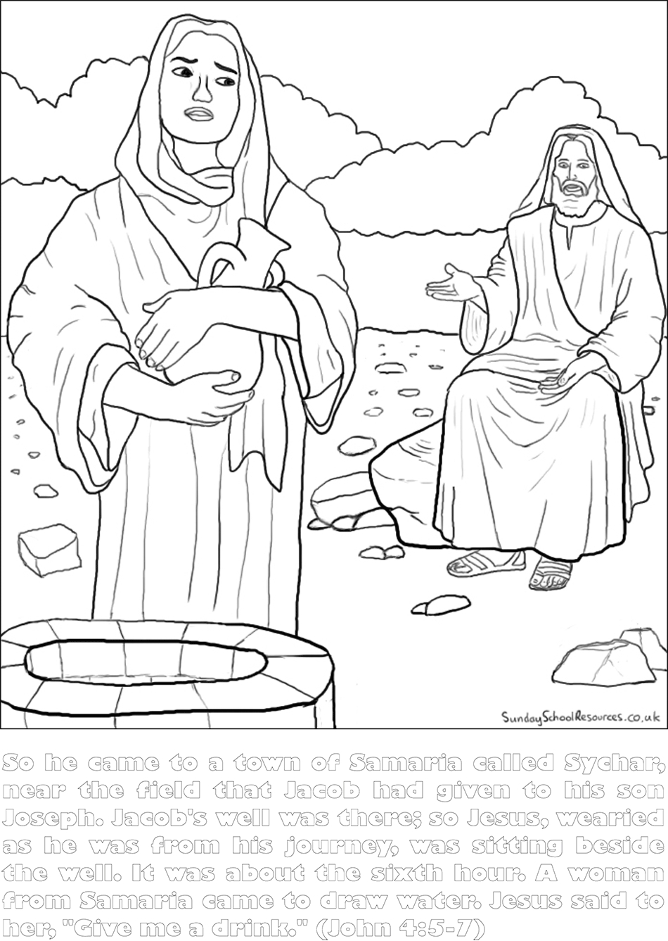 woman at the well coloring page - coloring woman well