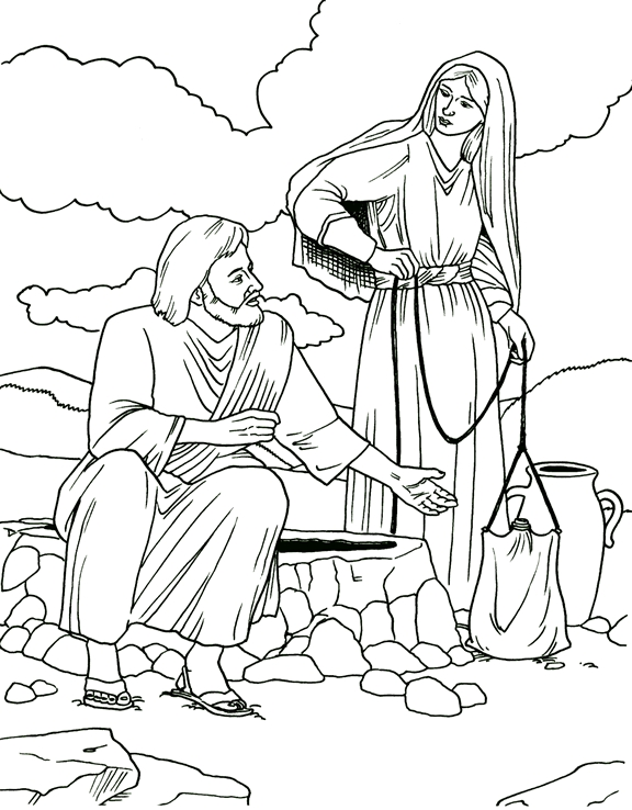 woman at the well coloring page - collectionwdwn woman at the well coloring page