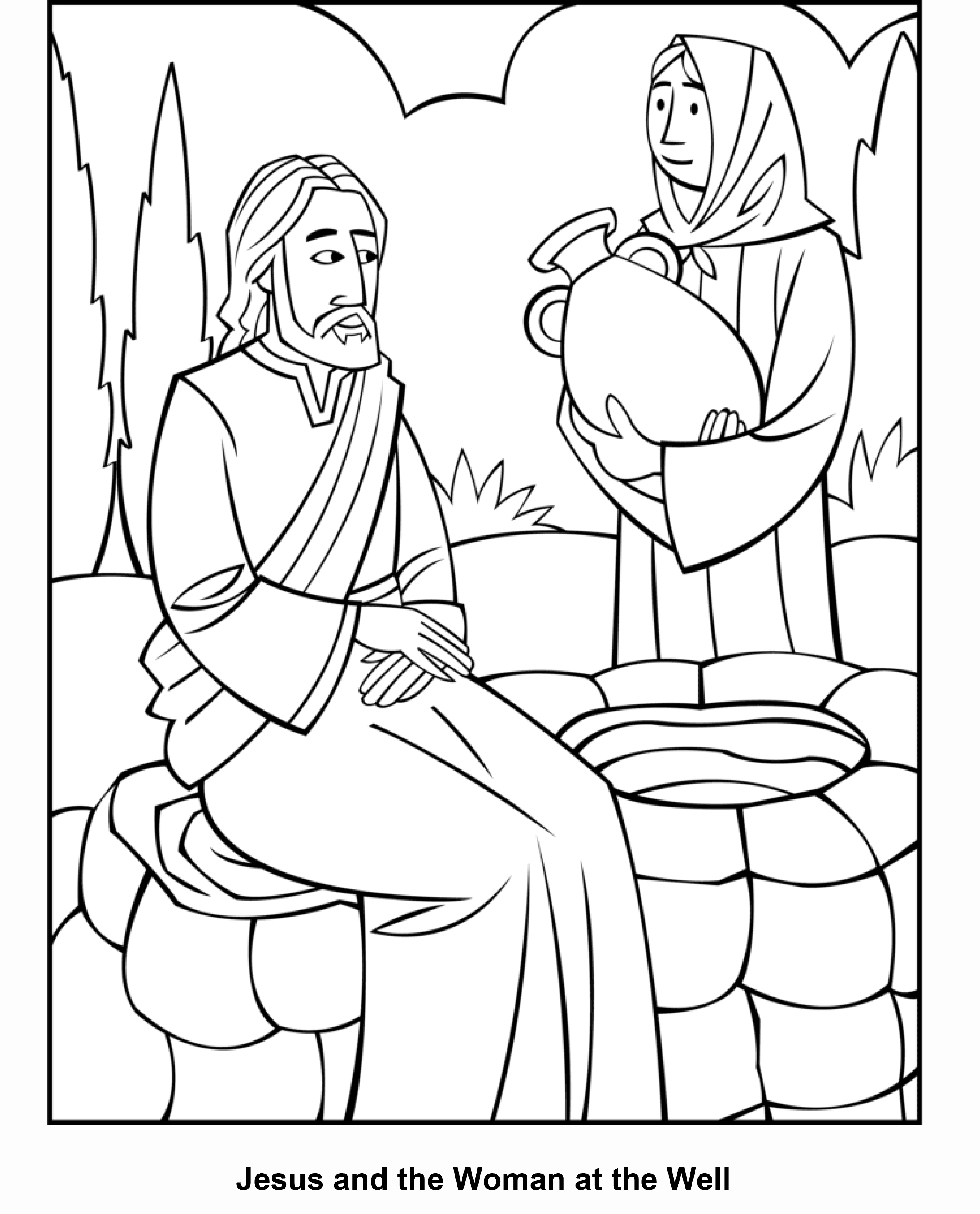 woman at the well coloring page - woman at the well coloring page sketch templates