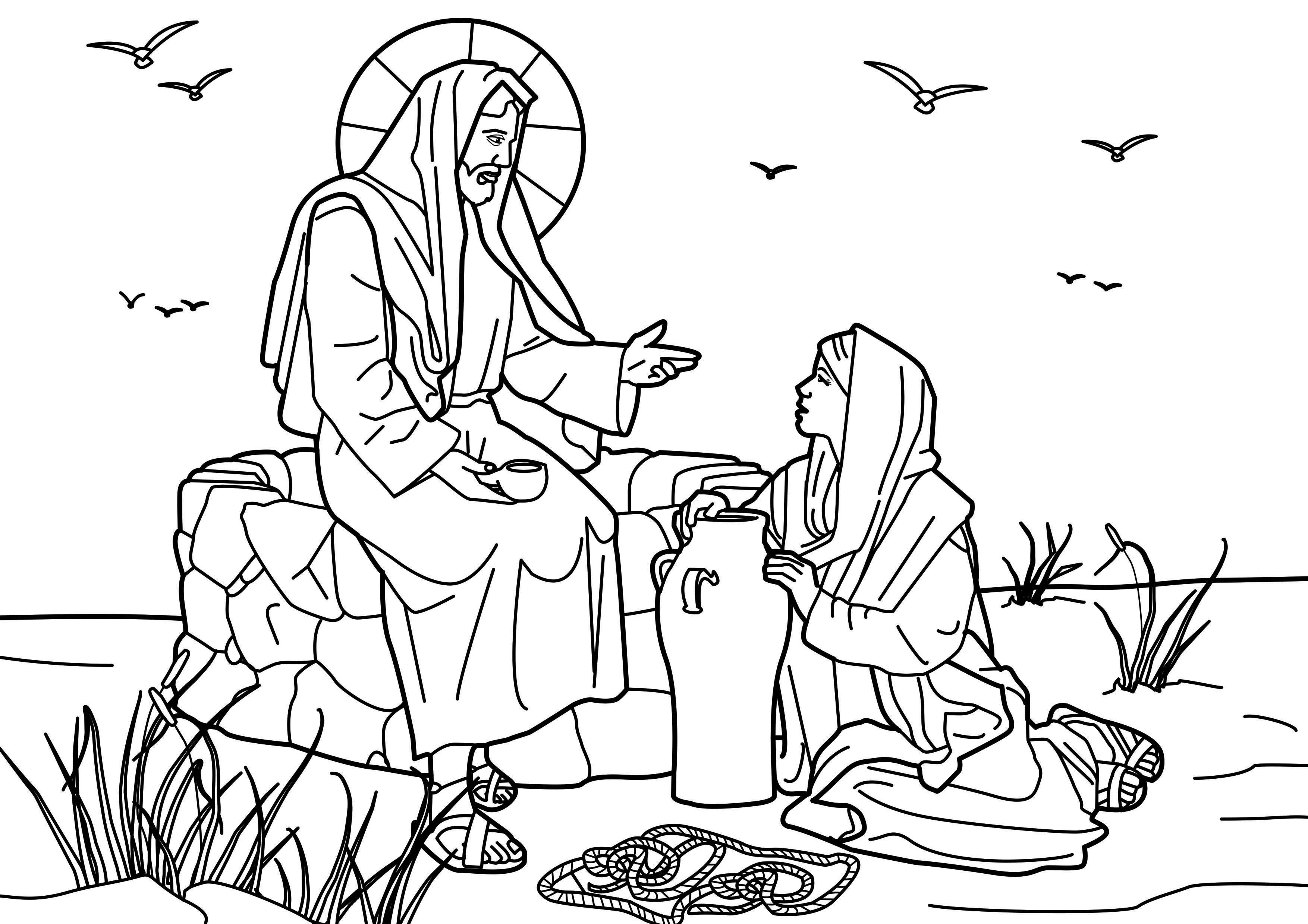 Woman at the Well Coloring Page - Woman at the Well Coloring Pages