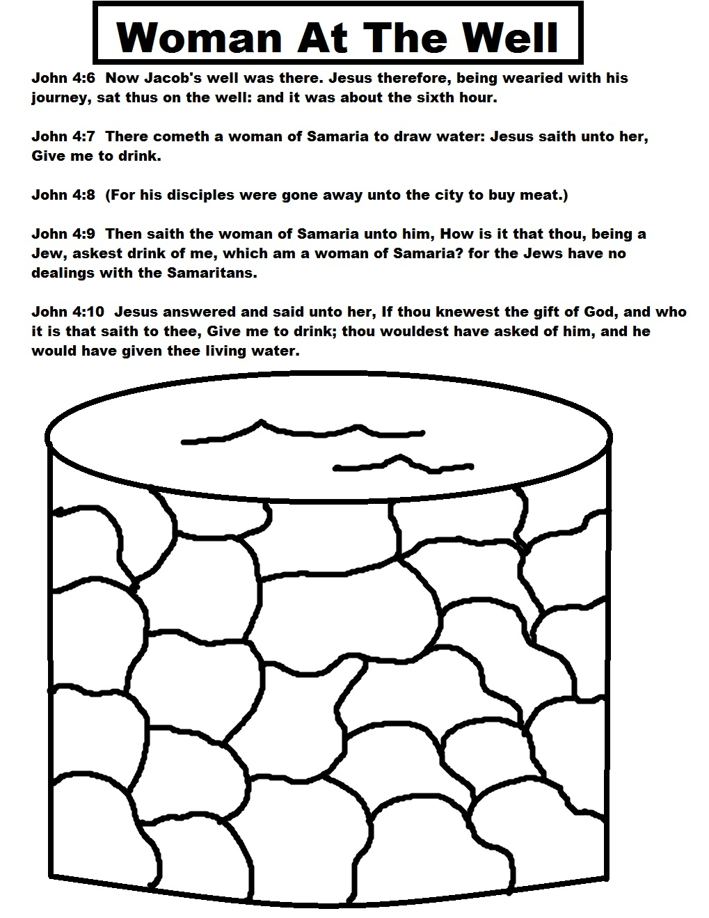 woman at the well coloring page - woman at the well sunday school lesson