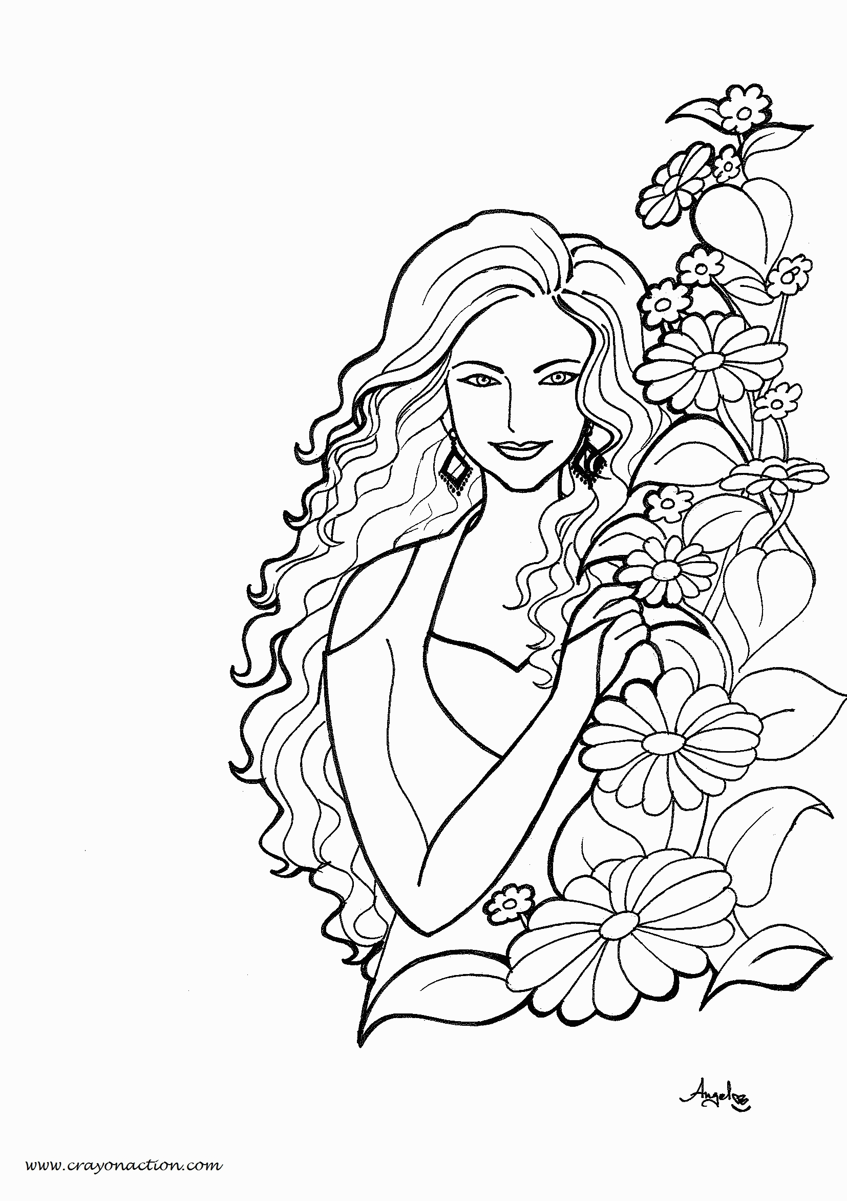 woman coloring page - pretty girl coloring page