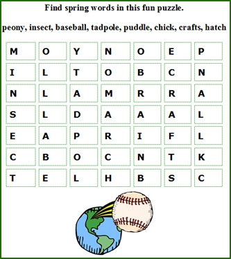 word coloring pages - free spring words games for kids