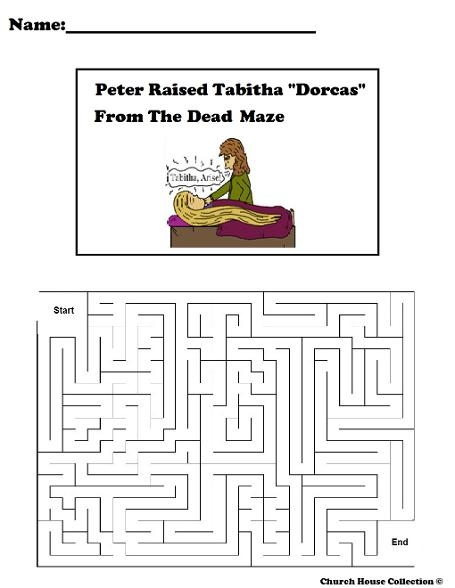 word coloring pages - peter raised tabitha dorcas from the dead maze