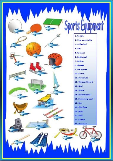 word coloring pages - sports equipment worksheet