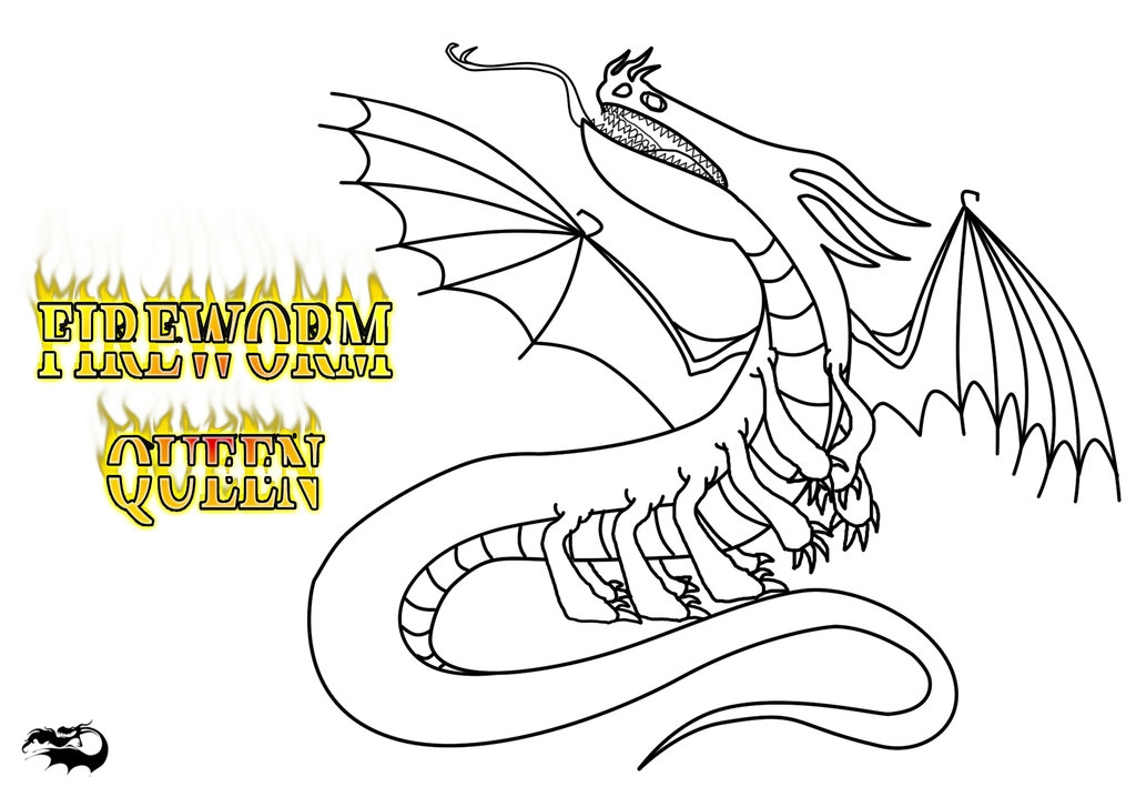 worm coloring pages - Fireworm Queen Outline and Character Template