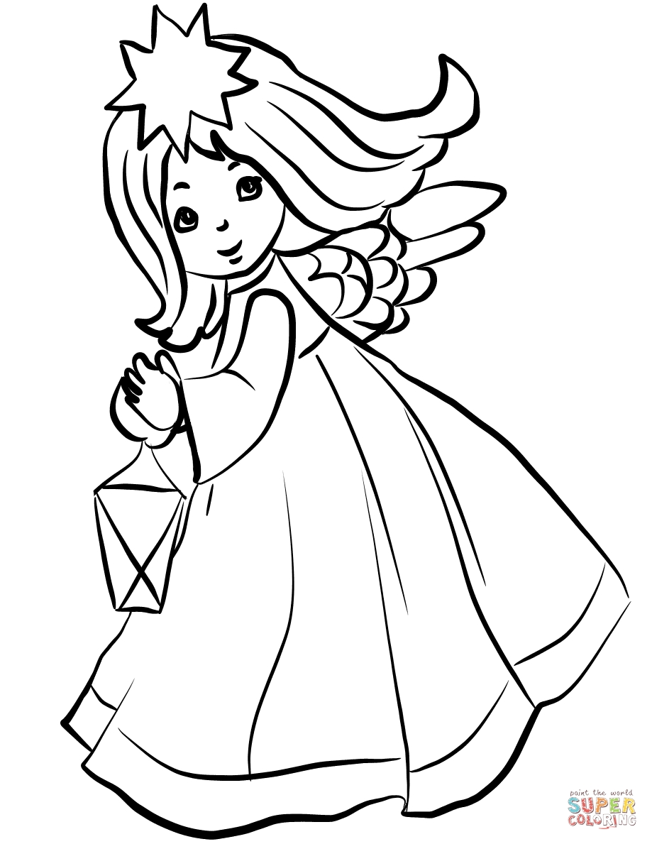 wreath coloring page - christmas angel with lantern