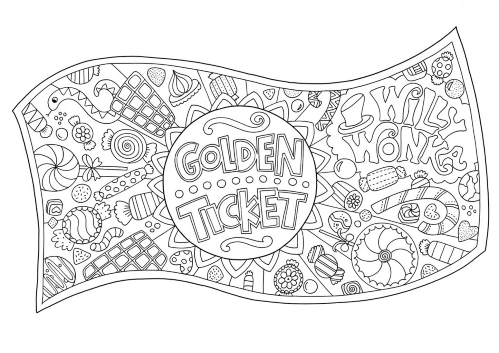 wreath coloring page - free golden ticket colouring