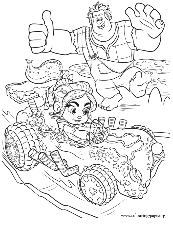 wreck it ralph coloring pages - 715 wreck it ralph cheering vanellope coloring page