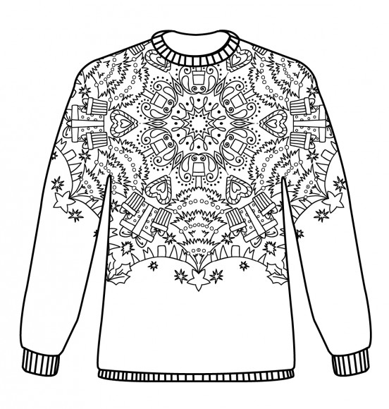 xmas coloring pages - christmas jumpers free pattern