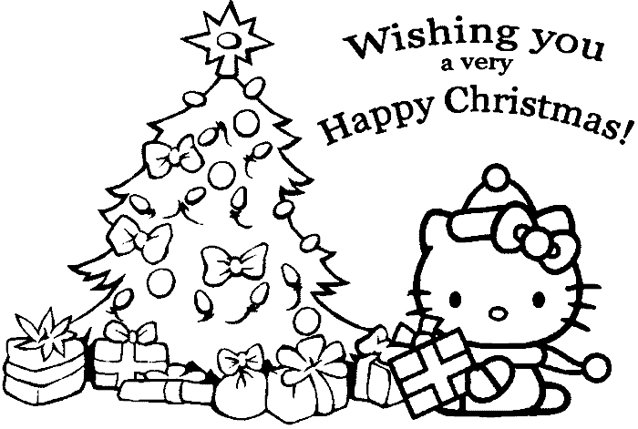 Xmas Coloring Pages - Hello Kitty