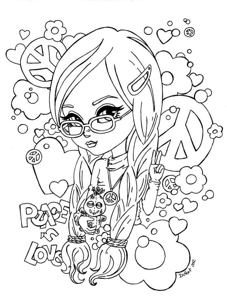 yampuff coloring pages - Peace n Love