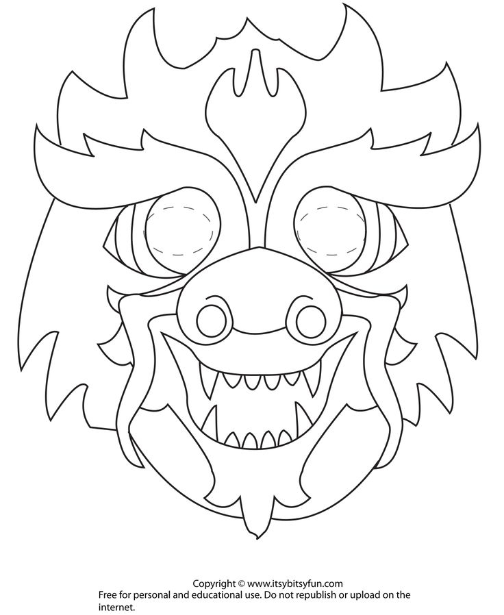 year of the rooster coloring page - chinese new year dragon mask