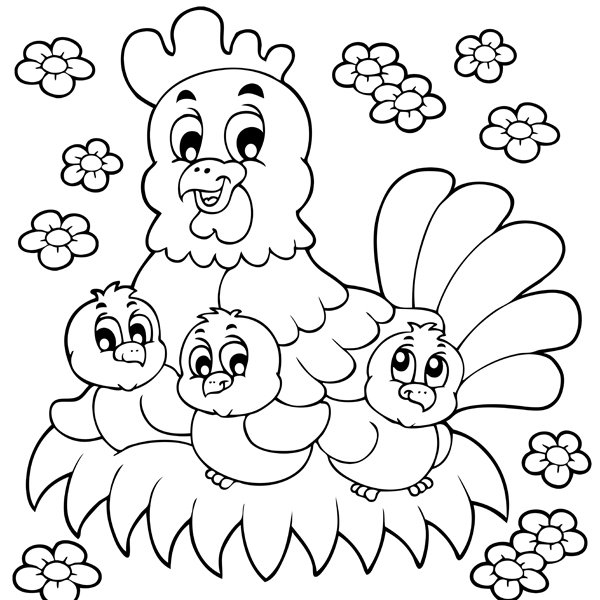 year of the rooster coloring page - poule et ses poussins en coloriage a imprimer