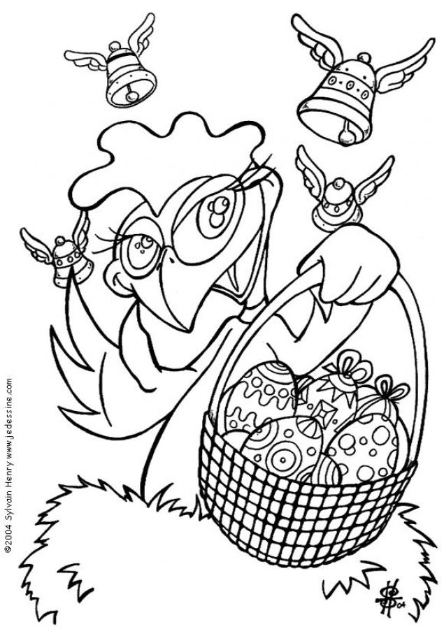 year of the rooster coloring page - coloriage d une poule et son panier