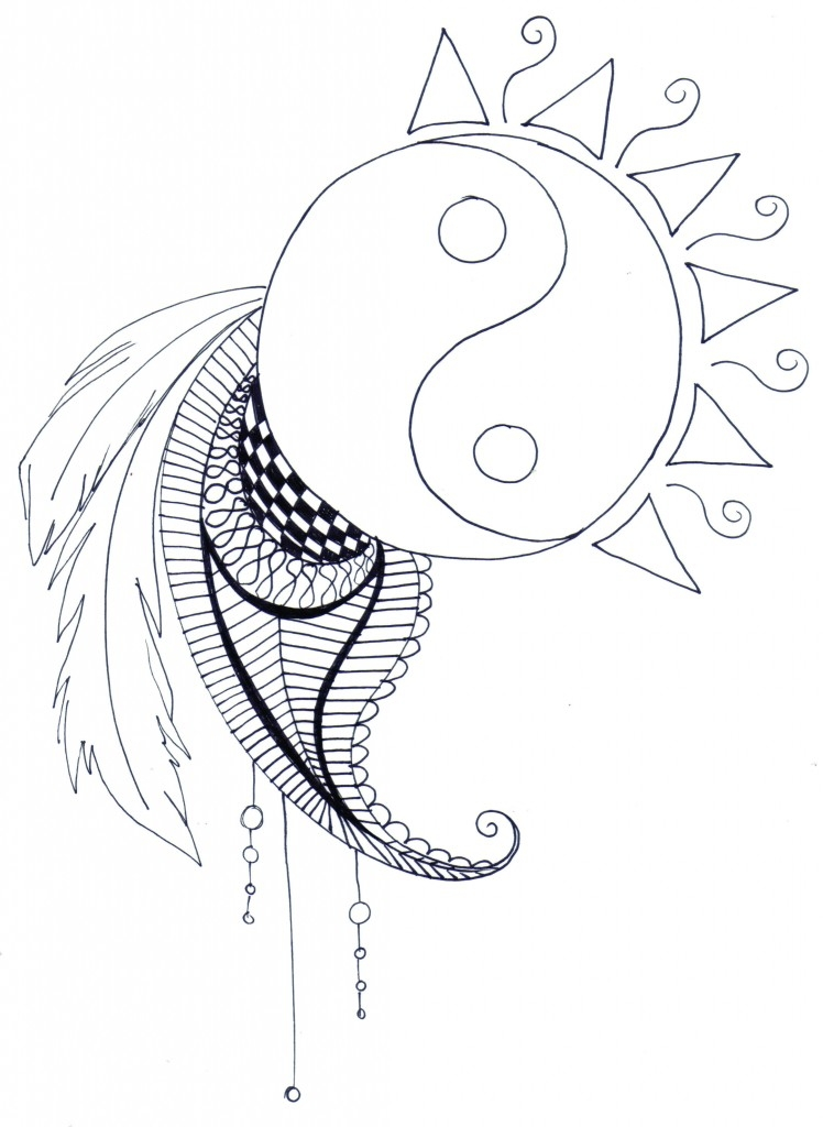 yin yang coloring pages - free coloring pages adults