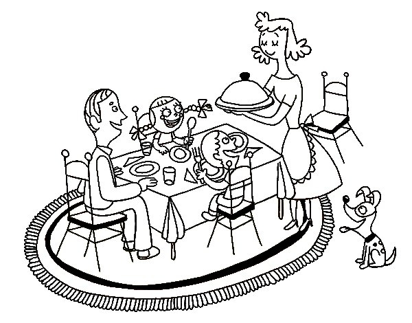yoga coloring pages - family dinner