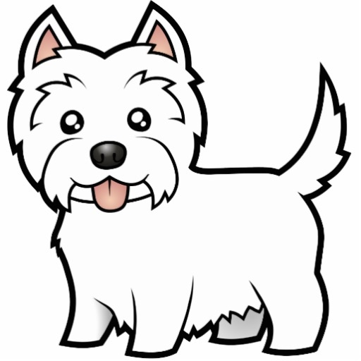 yorkie coloring pages - cartoon west highland white terrier photo cutouts