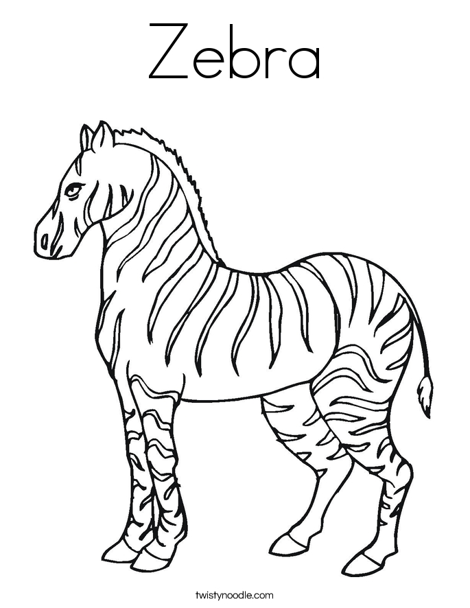 zebra coloring pages - zebra 2 coloring page