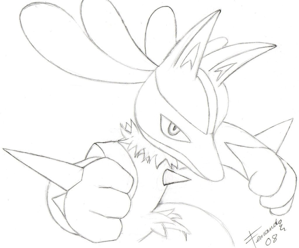 zelda coloring pages - lucario drawing