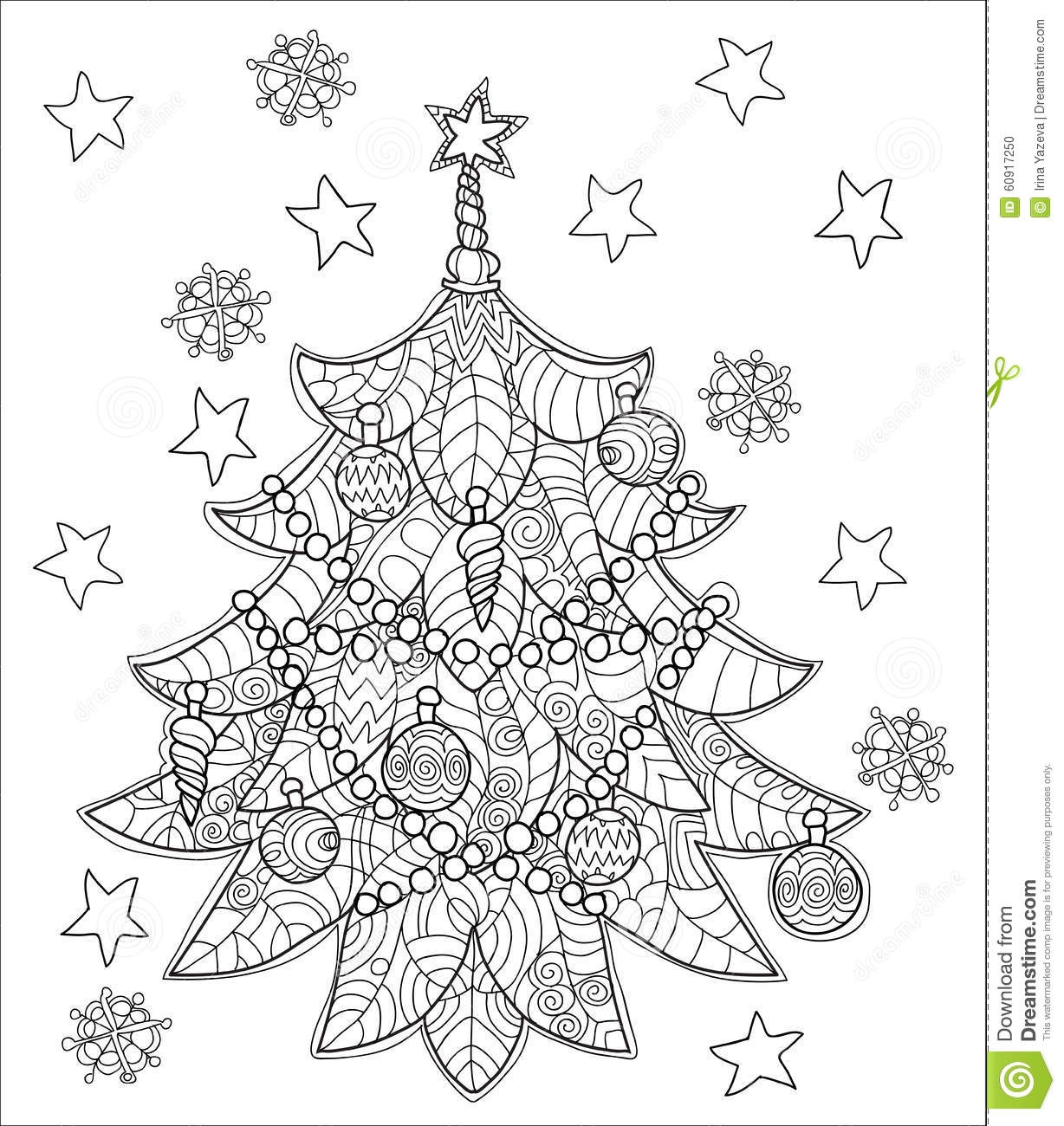 zen coloring pages - stock illustration merry christmas zentangle fir tree doodle hand drawn vector background decorations ball star image