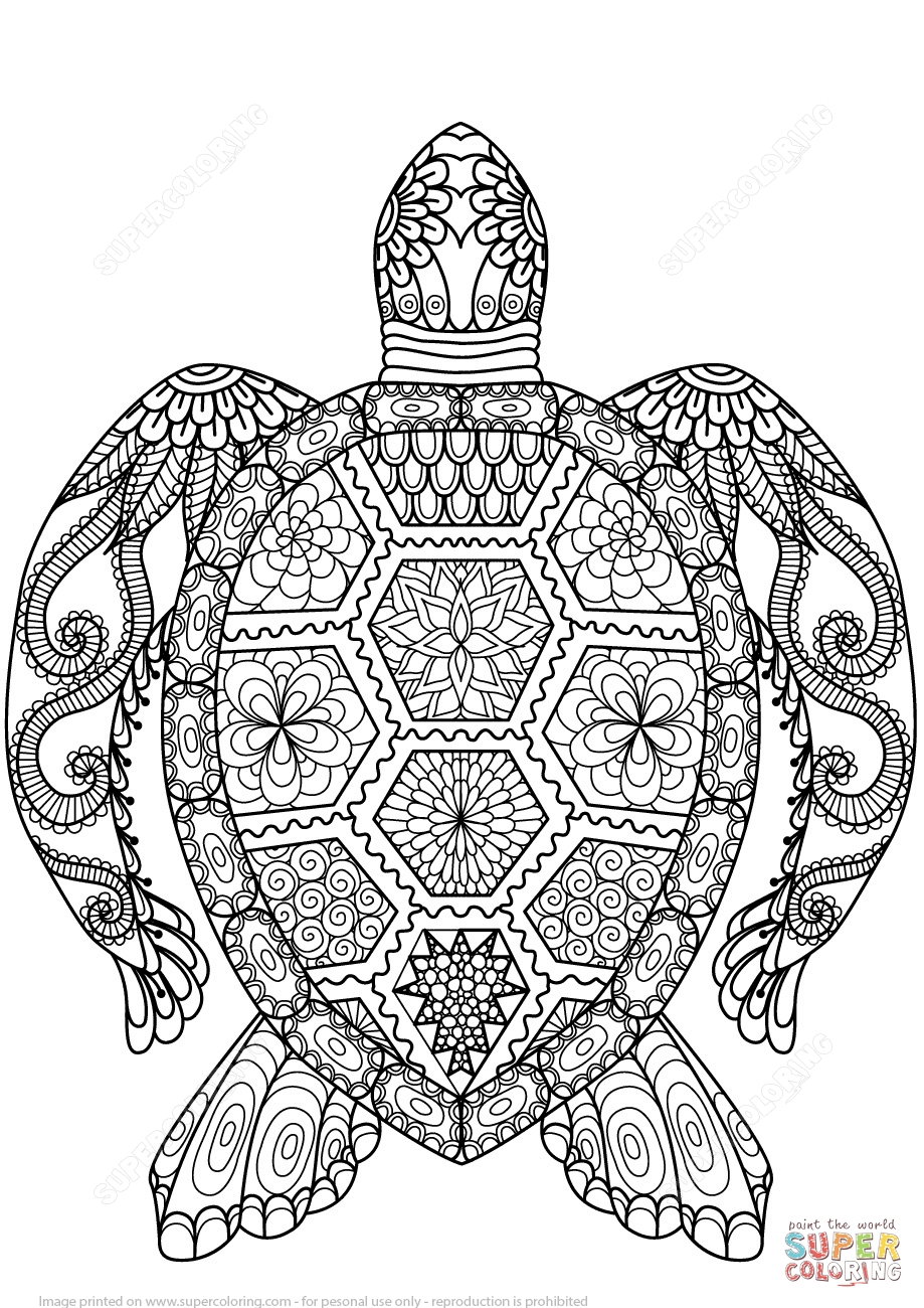zentangle coloring pages - turtle zentangle