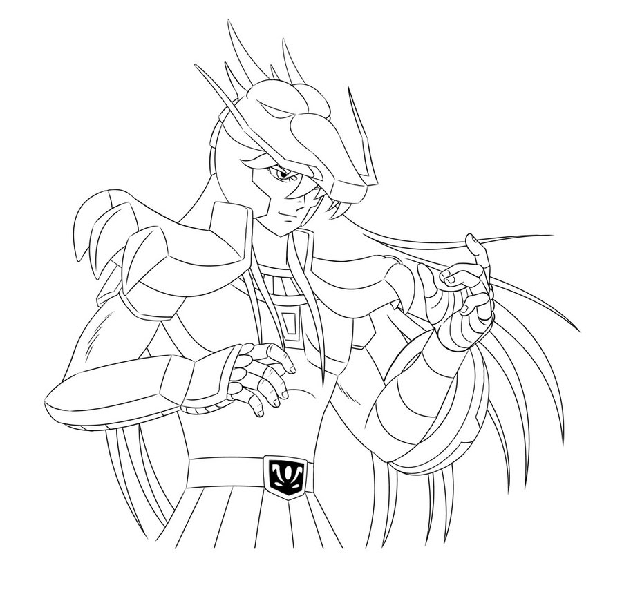 zodiac coloring pages - Saint Seiya Dragon Shiryu In Process II