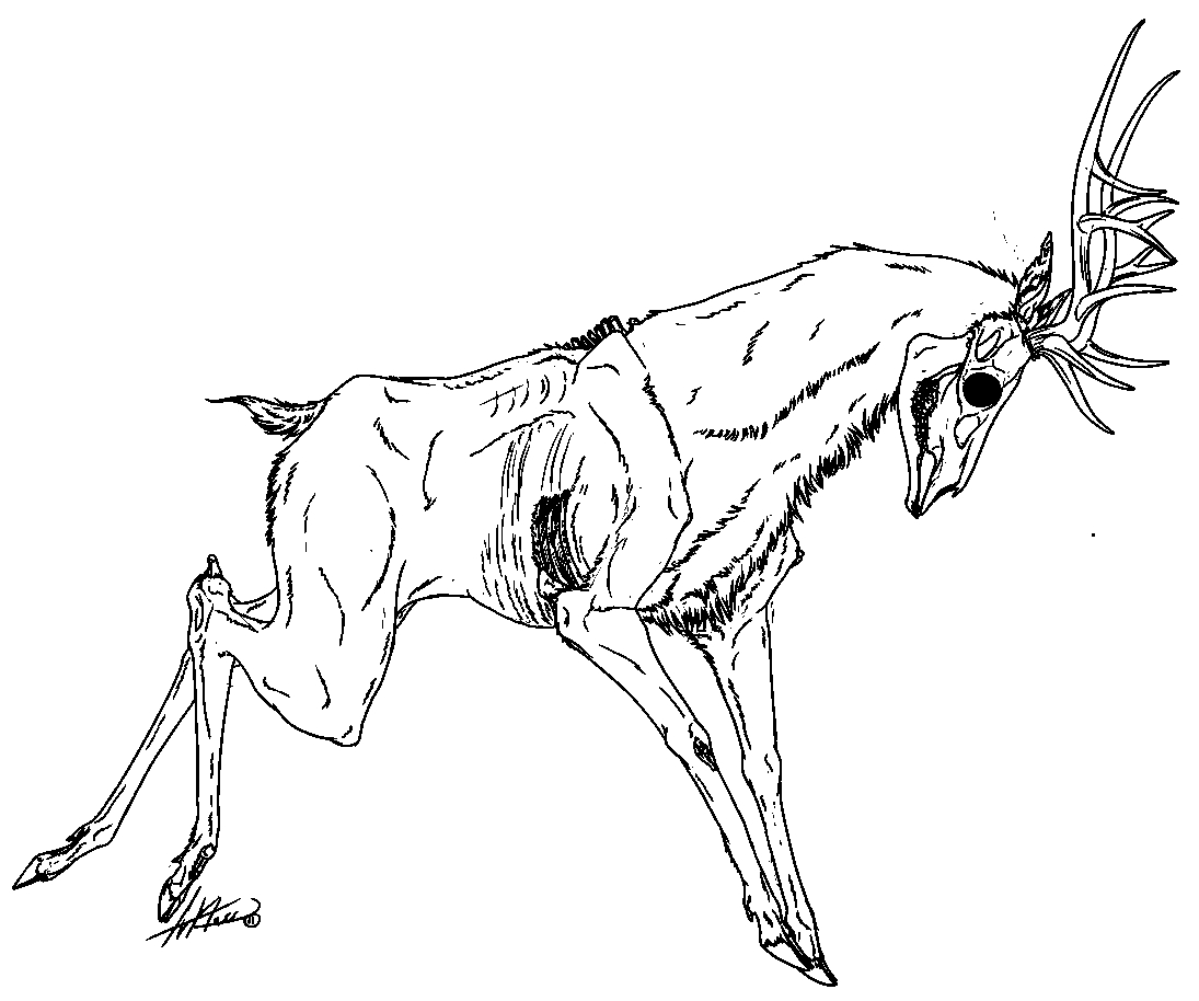 zombie coloring pages - zombie deer drawing