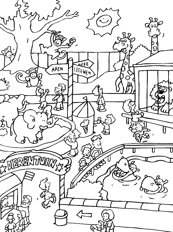 zoo coloring pages - zoo