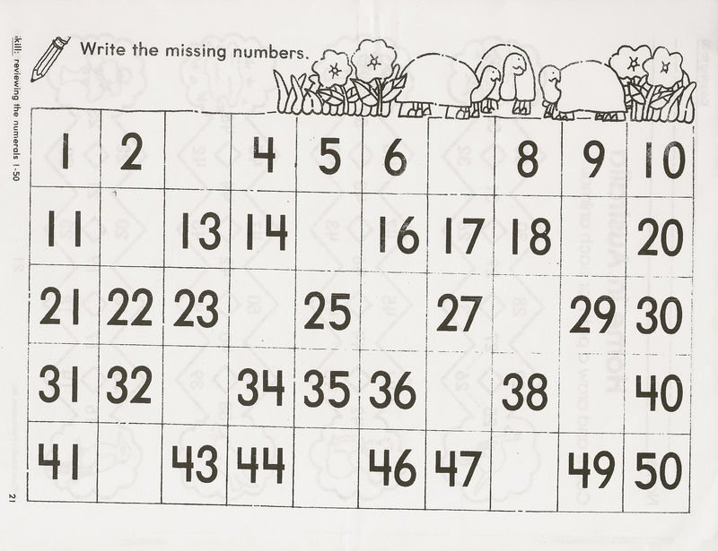 1 50 Number Chart Simple