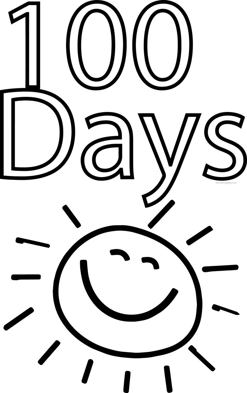 100 Days Of School Sun Coloring Page