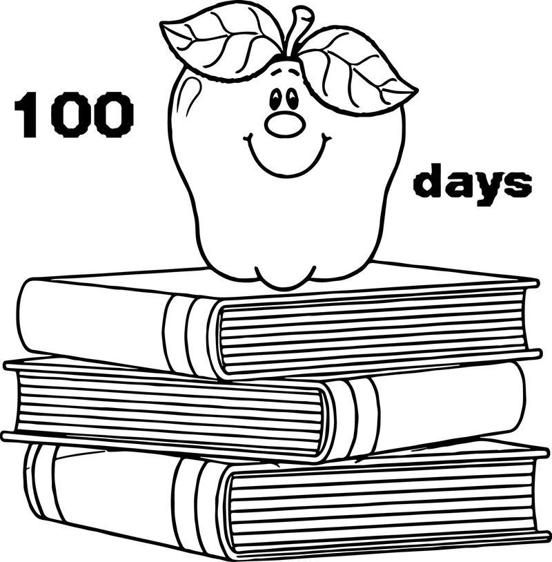 100 Days School Apple Books Coloring Page