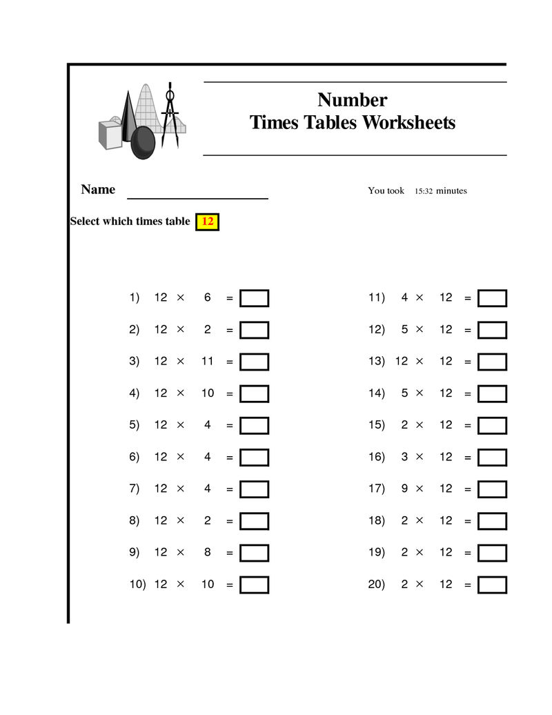 12 Times Table Worksheet To Learn