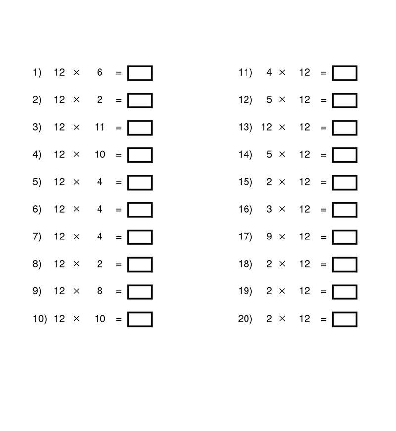 12 Times Table Worksheets Activity