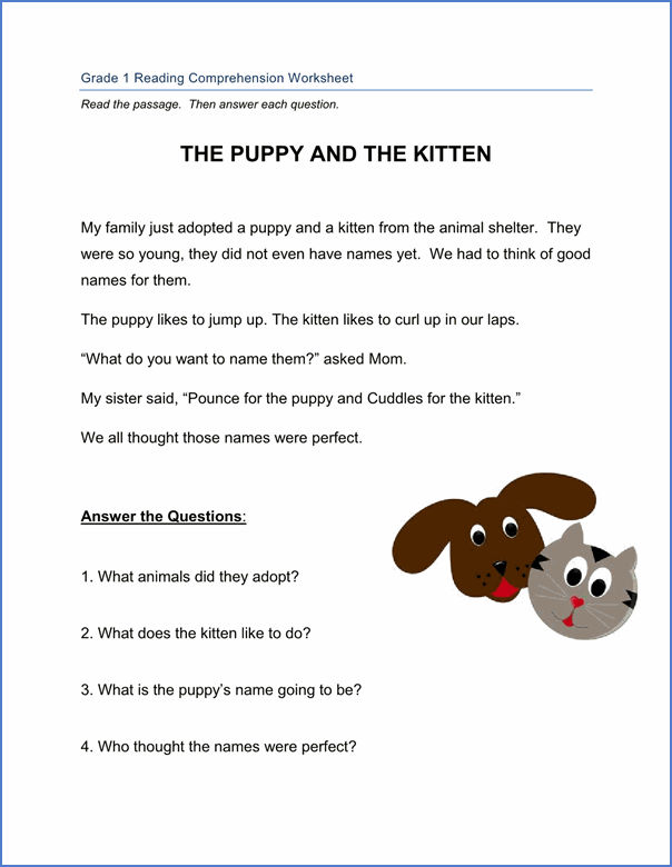1st Grade Reading Worksheets 2