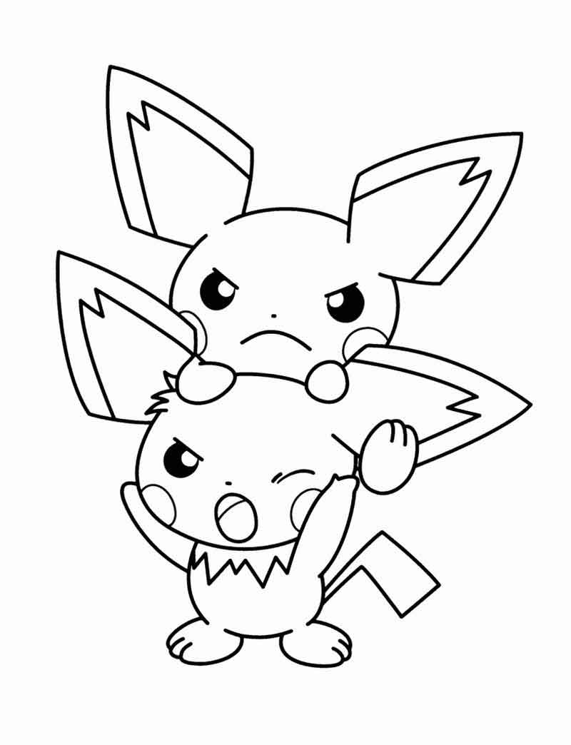 2 Pikachu Pokemon Coloring Pages