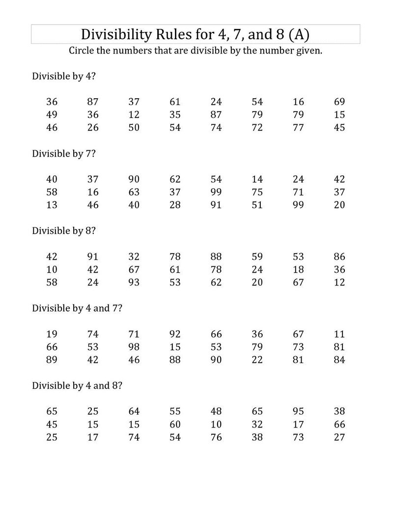 2 Digit Math Worksheets Divisibility Rules