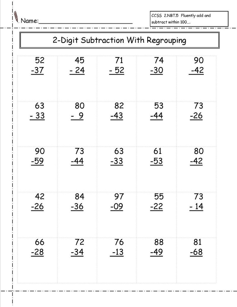2 Digit Math Worksheets Subtraction With Regrouping