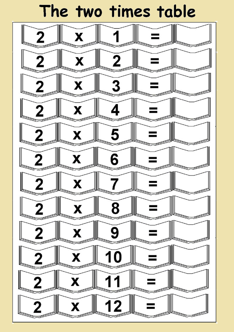 2 Times Table Worksheets Free