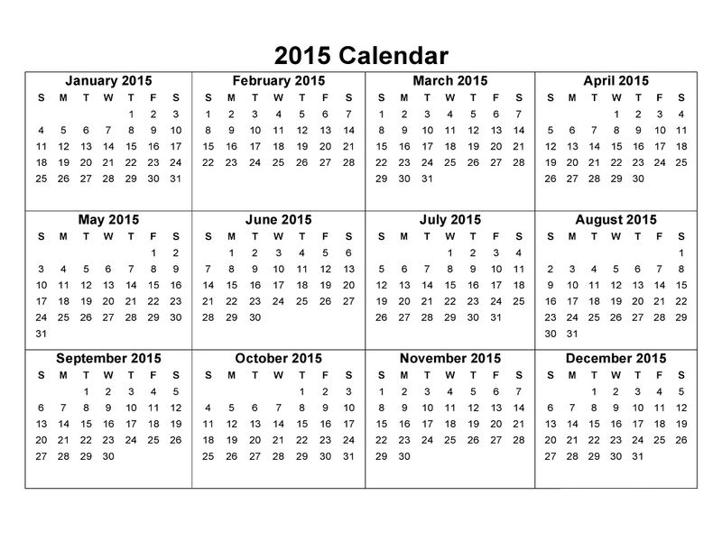 2015 Yearly Calendar With Holidays 5