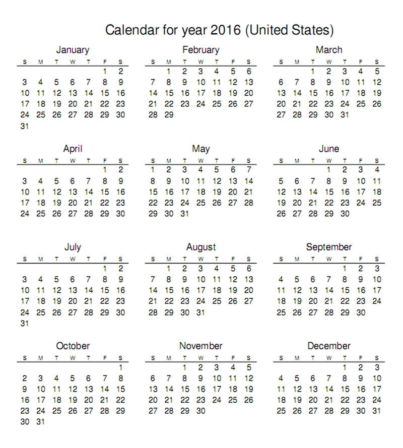 2016 Calendar Printable Yearly