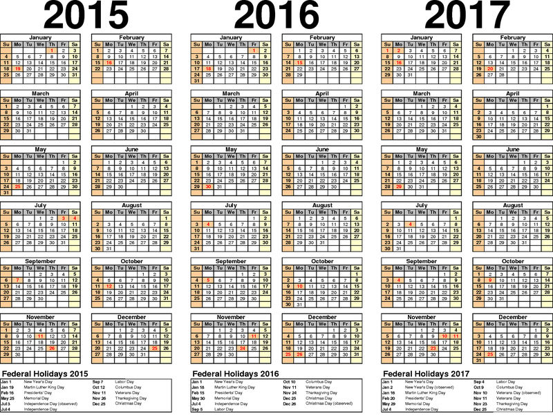 2016 Yearly Calendar With Holidays 2015 2017