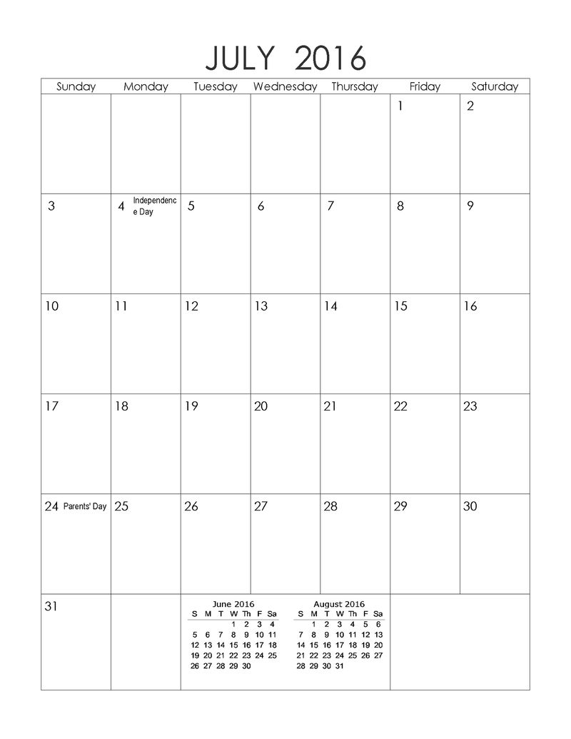 2016 Yearly Calendar With Holidays July