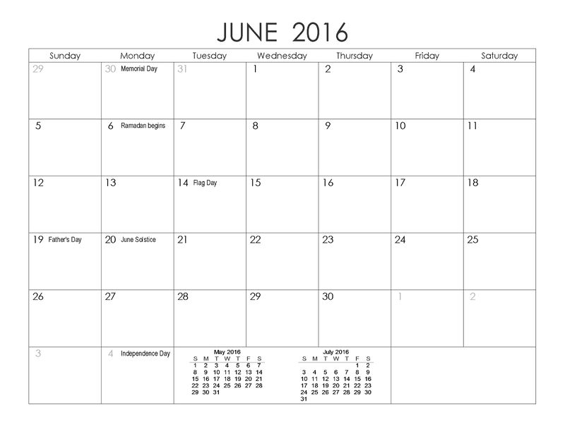 2016 Yearly Calendar With Holidays June