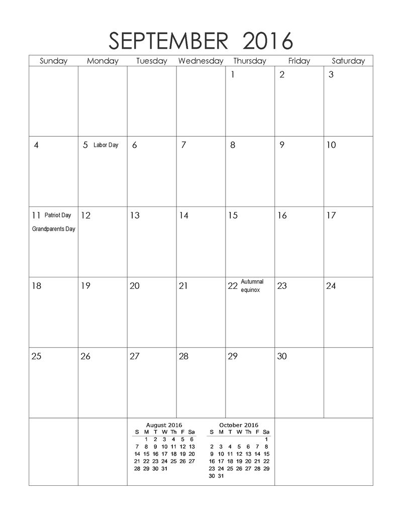 2016 Yearly Calendar With Holidays September