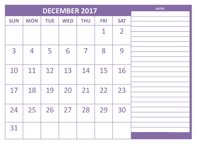 2017 blank weekly calendar with notes template 001