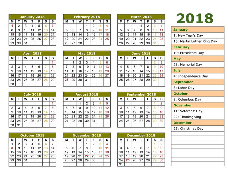 2018 Yearly Calendar With Holidays Green