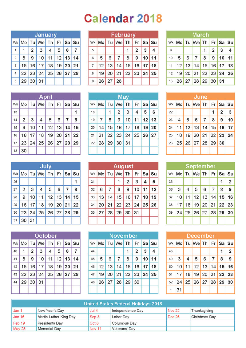 2018 Yearly Calendar With Holidays Printable