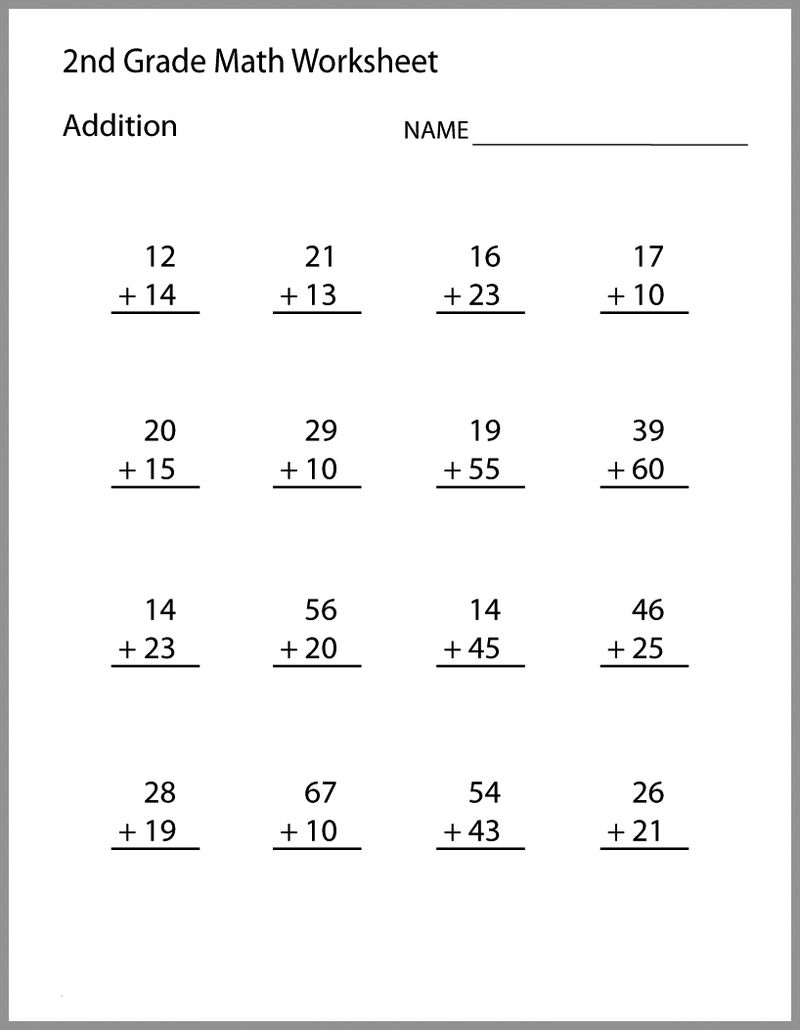 2nd Grade Math Worksheets Addition