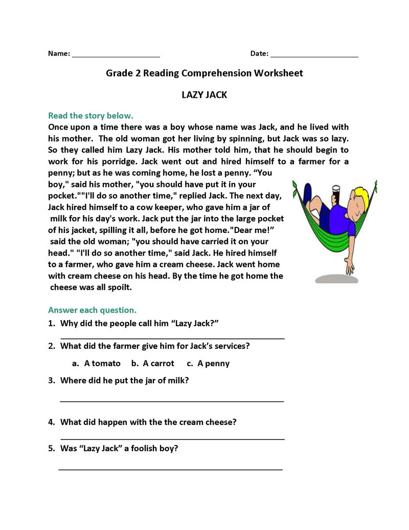 2nd Grade Reading Worksheet